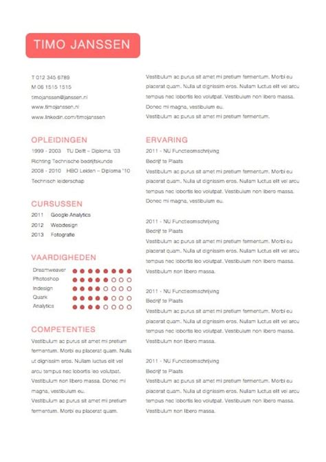 Curriculum Vitae Sjabloon Word 2010 25 Beste Idee 235 N Cv Sjabloon Op Creative
