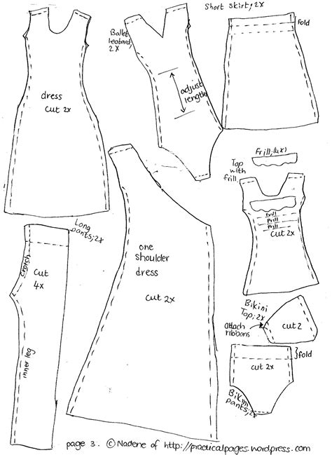 Clothes Pattern Templates | make a rag doll family barbie clothes clothing patterns