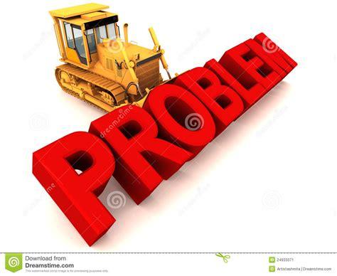 Remove It remove problem by bulldozing stock illustration