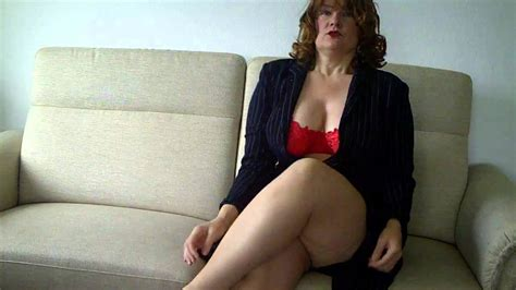 Older Mature Topless Heels Sitting | redhaired lady with pantyhose tan in high heels sitting in