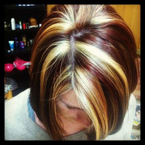 what is hair chunking red and blonde chunks lizziebelle s hair salon