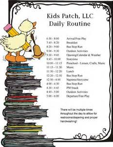 Child Care Daily Routine Template by Daily Routine Schedule Cake Ideas And Designs