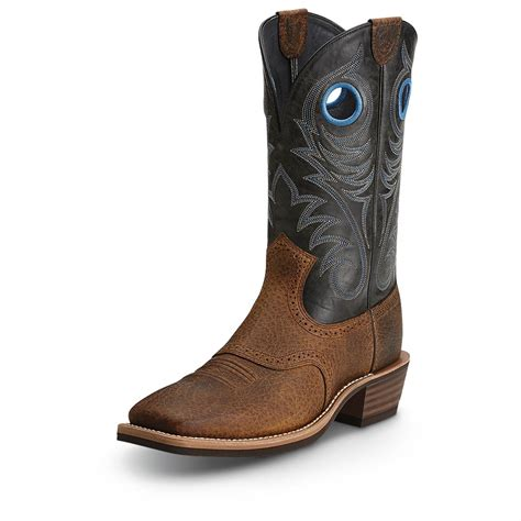 ariat roughstock wide square toe cowboy boots 593394
