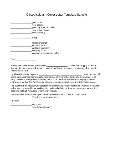 2017 office assistant cover letter fillable printable pdf forms handypdf