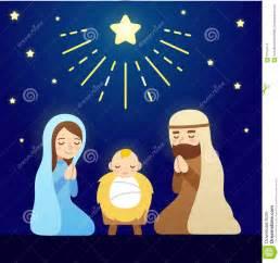 Christmas nativity scene with baby jesus mary and joseph under sky of
