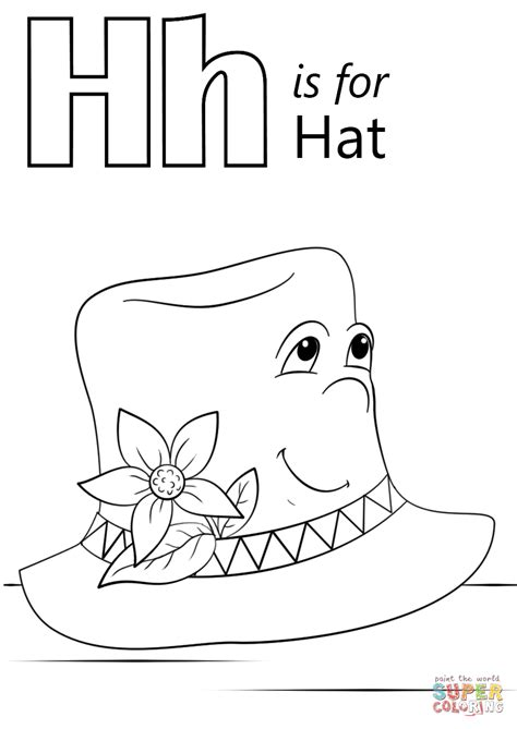H For Coloring Page by Letter H Is For Hat Coloring Page Free Printable