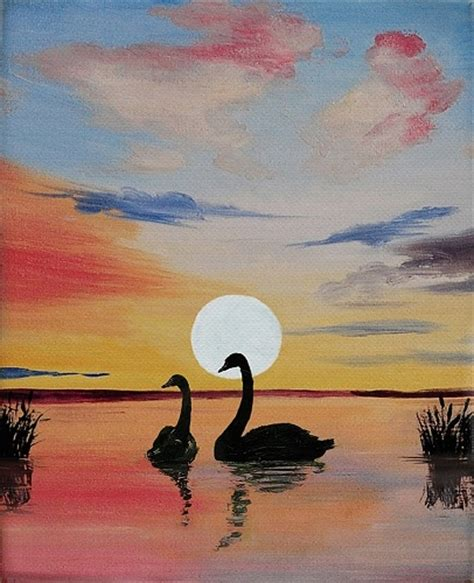 paint nite uk paint nite swans and cattails