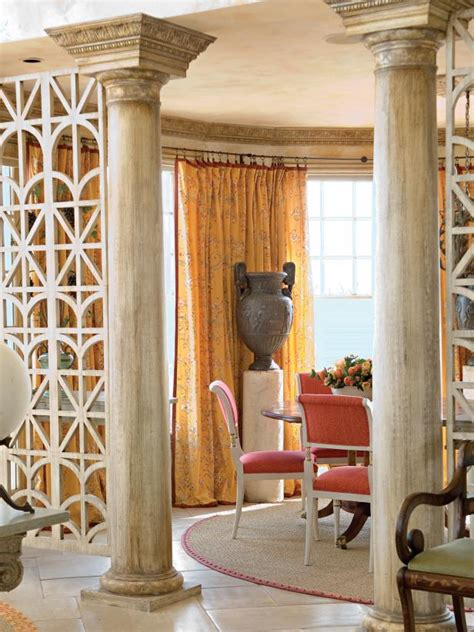 dining room separated  living space  open lattice wood screens hgtv