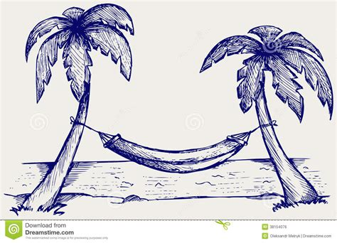 doodle god 2 palm tree hammock between palm trees stock vector