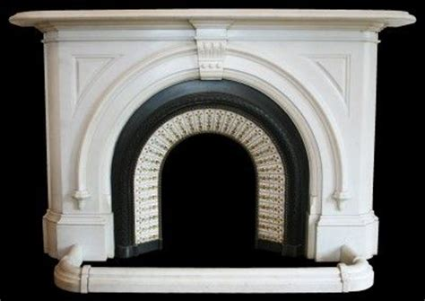 Antique Victorian statuary white marble arched fire