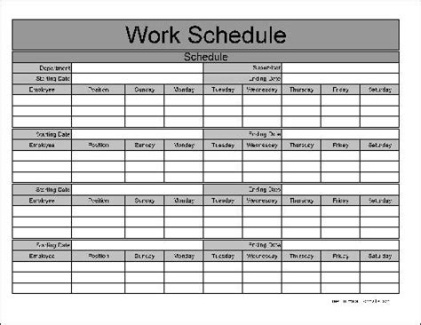 work schedule templates find word templates
