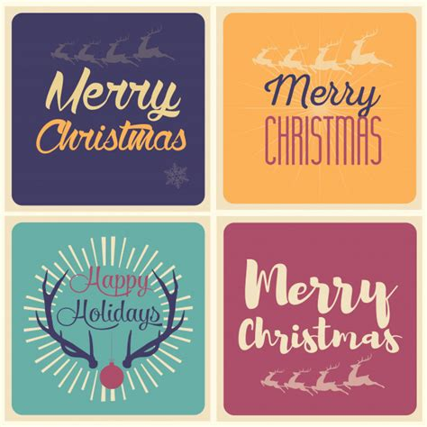 merry christmas  happy holidays card set vector