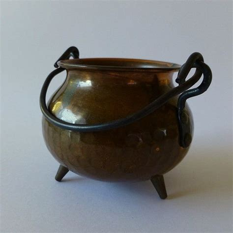 copper cauldron pit vintage small copper cauldron pot footed vessel metal