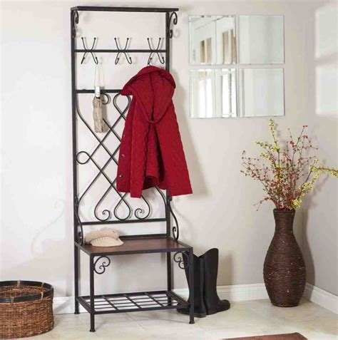 Metal Entryway Bench With Coat Rack metal entryway storage bench with coat rack home furniture design