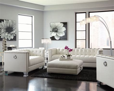 white living room furniture chaviano pearl white living room set from coaster
