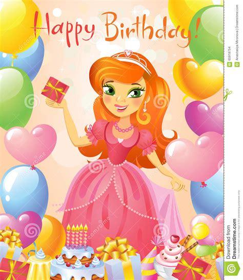 imagenes happy birthday princess happy birthday princess greeting card stock vector