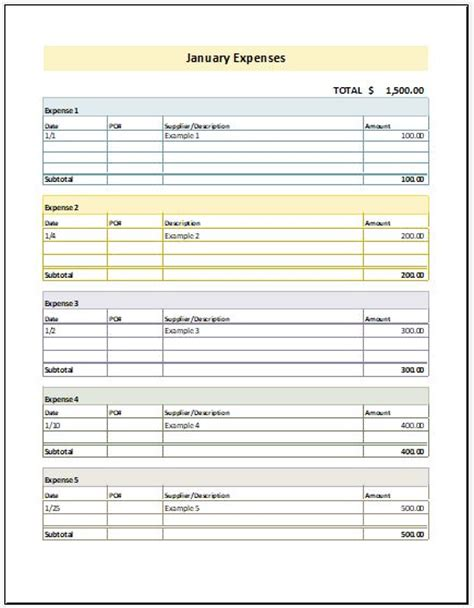 monthly expense report template monthly expense report template for excel excel templates