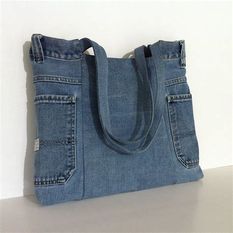 Bag Denim recycled jean tote bag vegan denim handbag eco