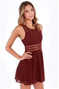 Cute burgundy dress lace dress cutout dress skater dress 51