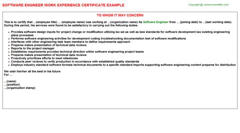 experience letter format for software engineer senior software engineer work experience certificates