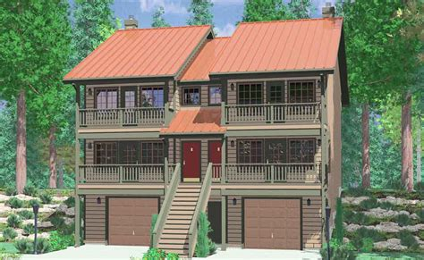 Two Story Bungalow House Plans by Narrow Lot Duplex House Plans Narrow And Zero Lot Line