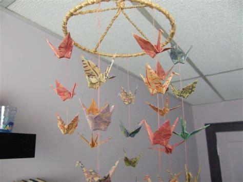 origami circular coil 36 paper crane mobile chiyogami paper