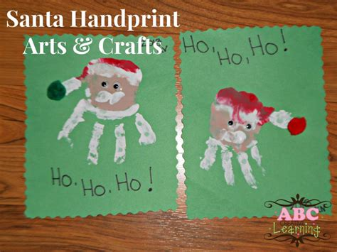 santa handprint arts crafts for kids