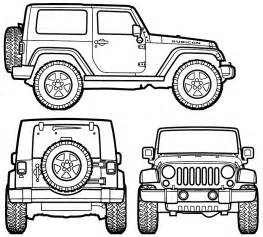 How To Draw A Jeep Car Blueprints Jeep Wrangler Rubicon Blueprints Vector