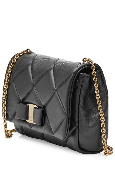 Quilted Leather Bag by Ferragamo Gelly Mini Quilted Leather Shoulder Bag Black
