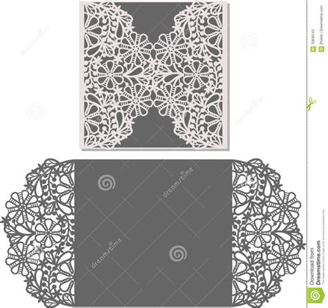 Laser Cut Envelope Template For Invitation Wedding Card Stock Vector Image 70836143 Laser Cut L Template