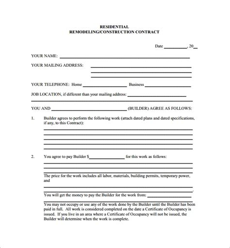 12 Remodeling Contract Templates Pages Docs Word Free Contractor Contract Template