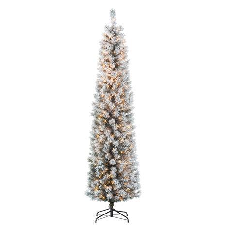 7ft pencil tree 7ft alberta flocked pencil spruce pre lit tree