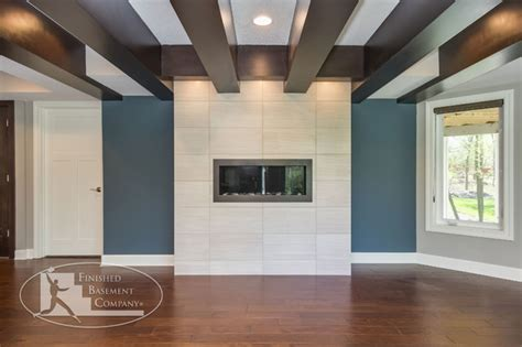 How To Cover Beams On Ceiling by Basement Fireplace And Wood Beam Ceiling Basement Minneapolis By Finished
