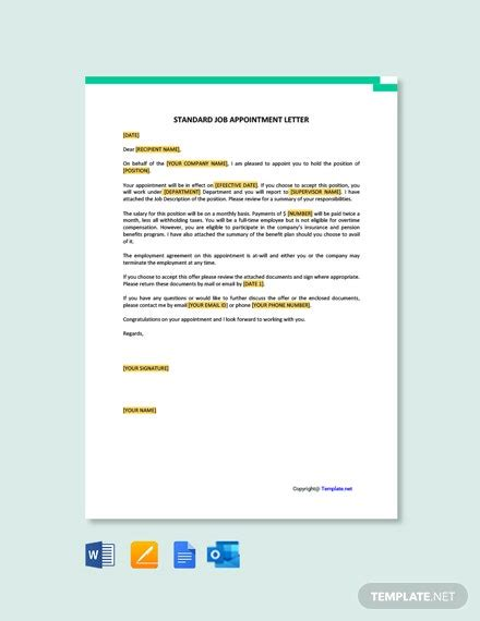 appointment letter templates word
