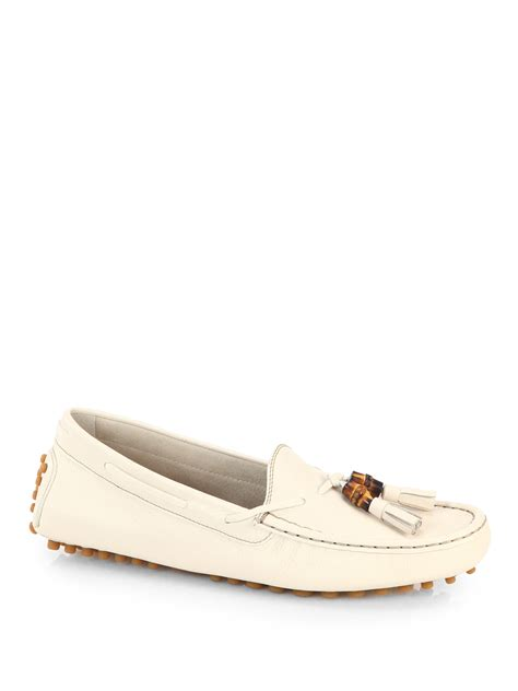 gucci loafers white gucci leather tassel driving loafers in white for