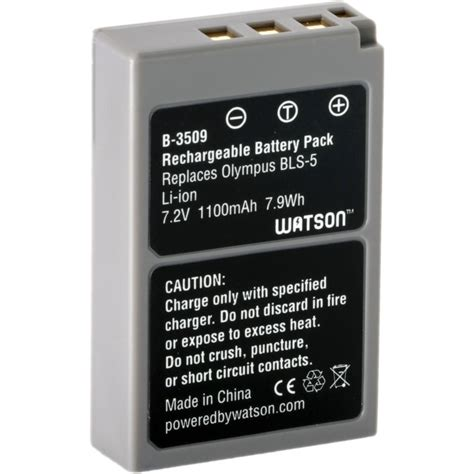 Olympus Bls 5 Lithium Ion Battery For Olympus E Pm2 watson bls 5 lithium ion battery pack 7 2v 1100mah b 3509 b h