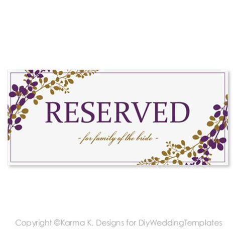 Reservation Cards For Tables Templates by Reserved Sign Template Instantly By