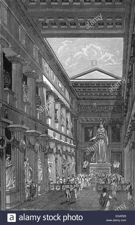 reconstruction of the parthenon temple interior view dedicated to stock photo royalty free