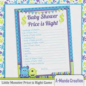 little monster price is right baby shower game by