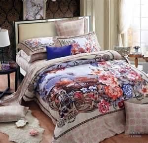 King Size Bedroom Sheet Sets Cotton Vintage Floral Luxury Bedding Set King