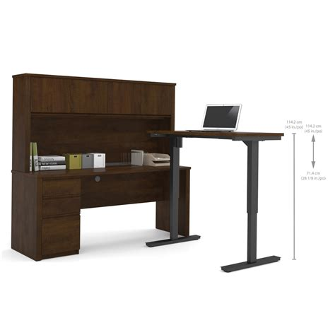 Adjustable Table L Prestige L Desk With Hutch Including Electric Height Adjustable Table In Chocolate