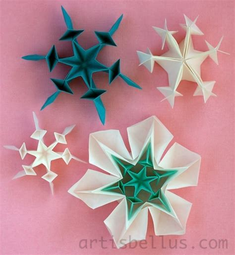 Snow Origami - origami snow flakes paper