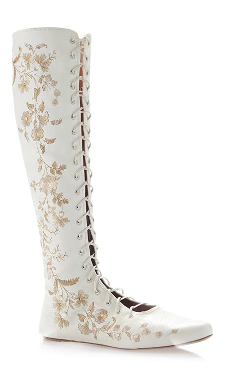 Schuhe Ivory Spitze by Etro Ivory Floral Embroidered Leather Flat Front Lace
