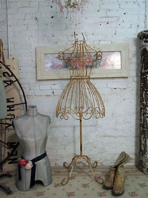 shabby chic mannequin painted cottage chic shabby iron dress form vf241