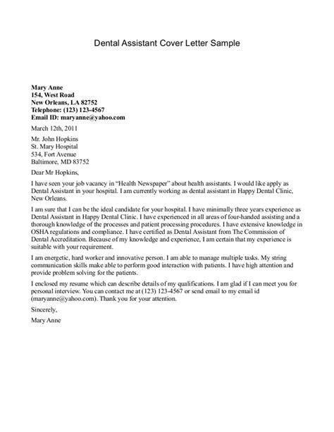 Dentist Cover Letter by Dental Assistant Cover Letter Sle Sle Cover Letters