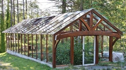 timber framed greenhouse  salvaged western red cedar