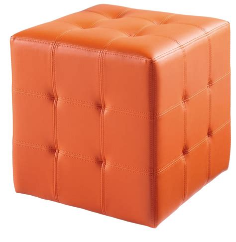 Orange Leather Ottoman Dario Orange Ottoman From Sunpan 12009 Coleman Furniture