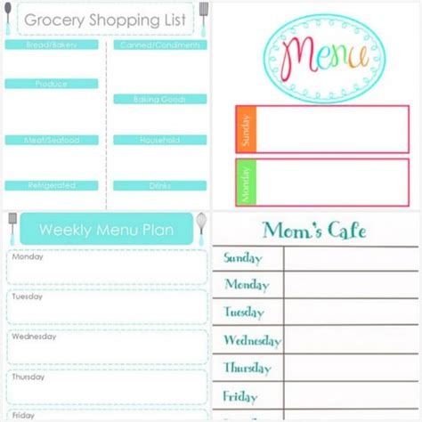 organized home printable menu planner 50 free printables for your new year resolutions tip junkie