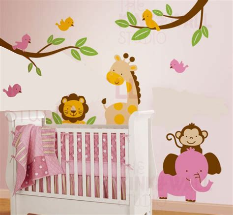 Nursery Wall Decals Animals Jungle Animal Paradise Wall Decal Wall Sticker Leafy Dreams Nursery Decals Removable
