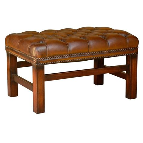 brown leather bench seat english mid century wooden bench with brown tufted leather